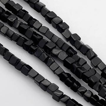 Cube Natural Black Stone Beads Strands, 4x4x4mm, Hole: 1mm; about 85~100pcs/strand, 15.3inches~15.8inches(G-P057-01)