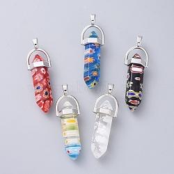 millefiori pendentifs en verre avec des alliages, platine, couleur mélangée, 40~42x8x8 mm, trou: 2 mm(X-LK-R008-M01)