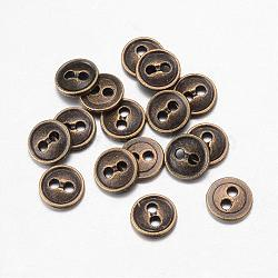 Boutons en alliage, 2-trou, plat rond, bronze antique, 18x2mm, Trou: 1.5mm(BUTT-D054-18mm-01)
