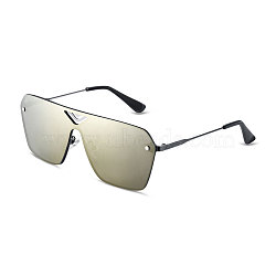 Classic Fashion Men Rectangle Sunglasses, Black Alloy Frames and PC Space Lens, Red Mercury, 4.3x14.5cm(SG-BB14464-3)