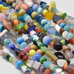 mixte chat perles oeil brins, couleur mélangée, 5~8x5~8 mm, trou: 1 mm; 34(X-CE-N008-01)