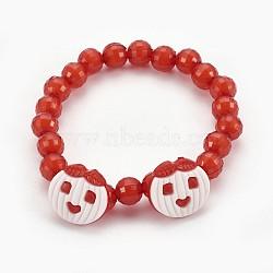"""Bracelets extensibles en perles acryliques pour enfants, boutons en acrylique avec pomme, rouge, 1-7/8"""" (4.8 cm)(BJEW-JB03887-03)"""