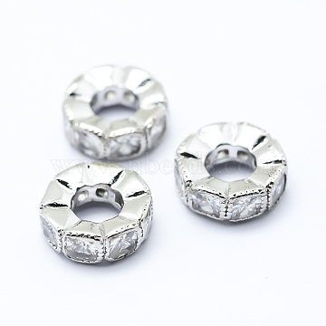 Brass Micro Pave Cubic Zirconia European Beads, Large Hole Beads, Flat Round, Platinum, 10x3.5mm, Hole: 4mm(X-ZIRC-L070-35P)