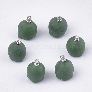 Handmade Porcelain Charms, Frost, with Brass Findings, Platinum, Green, 14~15x10~11mm, Hole: 1.5mm(PORC-T002-126A)