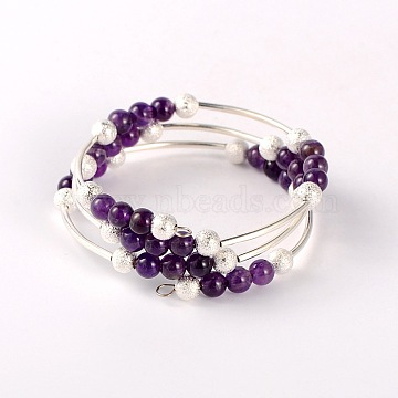 Natural Gemstone Wrap Bracelets, with Brass Textured Beads and Brass Tube Beads, Silver Color Plated, Amethyst, 52mm(BJEW-JB01705-04)