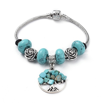 Brass European Bracelets, with Synthetic Turquoise Rondelle Beads, Tibetan Style Alloy Flower Beads and Alloy Gemstone Charms, Flat Round with Tree, 7-1/2 inches(19cm)(BJEW-JB04795-02)