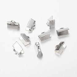 Embouts de ruban en laiton, platine, sans plomb, sans cadmium et sans nickel, longueur d'environ 10 mm ,  largeur de 7 mm, Trou: 1x3mm(J0JMT-NF)