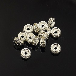 Brass Rhinestone Spacer Beads, Grade A, Crystal, Straight Flange, Rondelle, Silver Color Plated, 5x2.5mm, Hole: 1mm(X-RB-A014-Z5mm-01S)