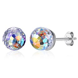 925 Sterling Silver Earrings, with Austrian Crystal, Round, Platinum, Colorful, 6x6mm(EJEW-BB30585)