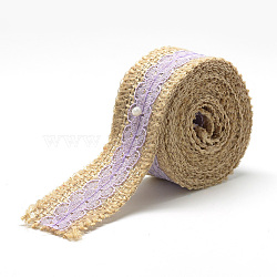 Burlap Ribbon, Hessian Ribbon, Jute Ribbon, with Lace, for Jewelry Making, Flower Pattern, Lilac, 1-1/8 inches(27~28mm); about 2.187yards/roll(2m/roll), 24rolls/bag(OCOR-R071-02B)