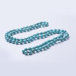 Естественно бирюзовый бисера ожерелья, круглые, окрашенная и подогревом, 60'' (152.4 см)(NJEW-P202-60-A08)