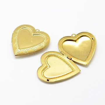 Brass Locket Pendants, Photo Frame Charms for Necklaces, Heart, Nickel Free, Raw(Unplated), 42x40x7mm, Hole: 2mm; Inner Size: 30x26.5mm(KK-P094-25)