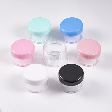 Polystyrene Plastic Facial Cream Jar, Cosmetic Containers, with Screw Lid, Mixed Color, 3.75x2.55cm, Capacity: 15g(MRMJ-WH0017-02)