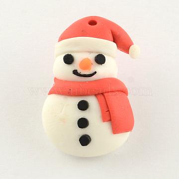 Handmade Christmas Snowman Polymer Clay Pendants, Red, 26x16x8mm, Hole: 1mm(X-CLAY-R060-45)