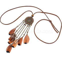 Feather Bib Statement Necklaces, Sweater Necklaces, with Aloy and Faux Suede Cord, Seed Beads, Antique Bronze, 33.4inches(85cm)(NJEW-F270-01)