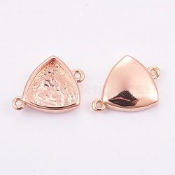 Латуни кабошон параметры соединителя, долговечный, треугольные, розовое золото , лоток : 9.5x10 мм; 11.5x15.5x3 мм, отверстие : 1 мм(KK-F748-19RG)
