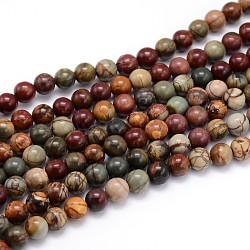 """Brins de perles rondes en pierre naturelle picasso / jaspe picasso, 6mm, trou: 1mm; environ 64 pcs/chapelet, 16""""(G-J303-16-6mm)"""