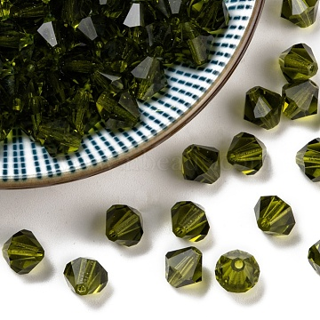 Czech Glass Beads, Faceted, Bicone, Olive, 6mm in diameter, hole: 0.8mm, 144pcs/gross(302_6mm228)