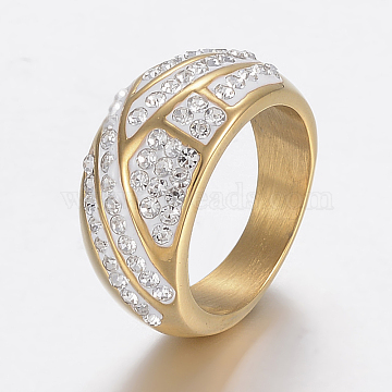Vacuum Plating 304 Stainless Steel Finger Rings, with Polymer Clay Rhinestones, Golden, Size 9, 19mm(RJEW-H125-77G-19mm)