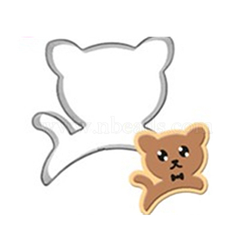 304 Stainless Steel Cookie Cutters, Cookies Moulds, DIY Biscuit Baking Tool, Cat, Stainless Steel Color, 65x55x17.5mm(DIY-E012-67)