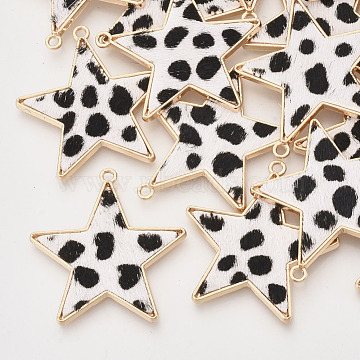 Environmental Cowhide Leather  Pendants, with Golden Plated Alloy Cabochon Settings, Star with Leopard Print Pattern, White, 36.5x35x2~3mm, Hole: 1.8mm(X-FIND-N049-02N)
