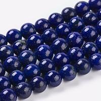naturelles lapis-lazuli brins de perles, teints, arrondir, bleu, 6 mm, trou: 1 mm; environ 30 perle / brin, 7.6 pouces