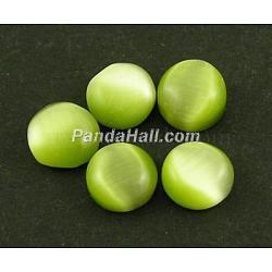 chat cabochons de verre oeil, demi-tour / dôme, olive, sur 20 mm de diamètre, 3~5 mm d'épaisseur(X-CE073-20-12)