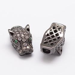 Brass Micro Pave Cubic Zirconia Beads, Leopard, Lead Free & Nickel Free & Cadmium Free, Gunmetal, 17x9.5x8mm, Hole: 1x2mm,  2.5x3.5mm(X-ZIRC-P017-06B-NR)