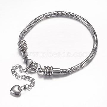 304 Stainless Steel European Round Snake Chains Bracelets, with Lobster Claw Clasp and Heart Charms, Stainless Steel Color, 190x3mm(STAS-J015-04)