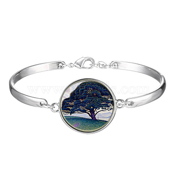 Picture Glass Links Bracelets, with Alloy Findings, Flat Round with Pattern, Tree of Life, Prussian Blue, 2-1/8 inches(5.5cm)(BJEW-O171-34)