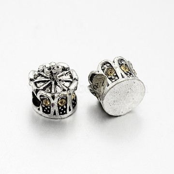 Antique Silver Plated Alloy Rhinestone European Beads, Large Hole Crown Beads, Lt.Col.Topaz, 13x12mm, Hole: 5mm(CPDL-J030-14AS)