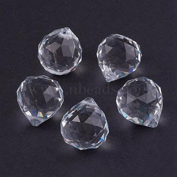 Clear Faceted Ball-Shaped Glass Pendants, Crystal Suncatcher, 20mm in diameter, 23mm thick, hole:2mm(X-GR20X23MMY-1)