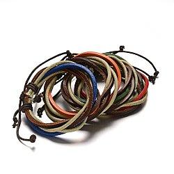 Bracelets ajustables de multi-brins avec cordon de cuir, couleur mixte, 53mm, 10x6mm(BJEW-M169-09)