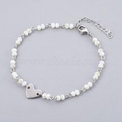 """Perles de verre de cheville de charme, avec les accessoires en métal, Rondelle et coeur, fumée blanche, 9-1/2"""" (24 cm), 4~4.5mm(AJEW-AN00235-02)"""