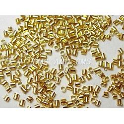 Perles à écraser en laiton , sans plomb, Tube, dorée, taille: environ 2.5 mm de long,  largeur de 2.5 mm, trou: 2 mm; environ 555 pcs / 10 g(X-KK-S070-G-LF)