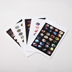 Conception de modèle de scrapbooking bricolage autocollants non-adhésives collage feuilles de papier pour cabochons de verre ovale claires, couleur mixte, 18x13 mm; environ 21~28 pcs / carte(X-AJEW-L029-M)