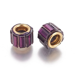 Perles européennes en laiton avec zircone cubique, Perles avec un grand trou   , colonne, or, violet, 10x8mm, Trou: 5mm(KK-E772-01K)