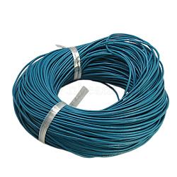 Cordon en cuir de vachette, cordon de bijoux en cuir , bricolage bijoux matériau de fabrication, rond, teint, bleu foncé, 1.5mm(X-LC-1.5MM-03)