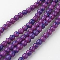 """Chapelets de perle en jade blanc naturel, rond, teint, violet, 6mm, trou: 1mm; environ 73 pcs/chapelet, 15.9"""" (405 mm).(G-G916-6mm-08)"""