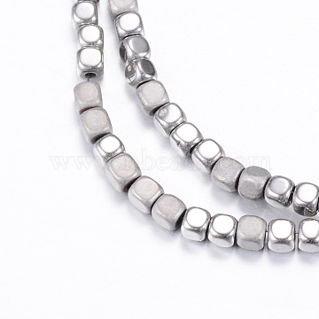 Vacuum Plating Electroplate Non-magnetic Synthetic Hematite Bead Strands, with Matte Style, Cube, Silver Plated, 3x3x3mm, Hole: 1mm; about 142pcs/strand, 15.7 inches(X-G-Q467-11A)