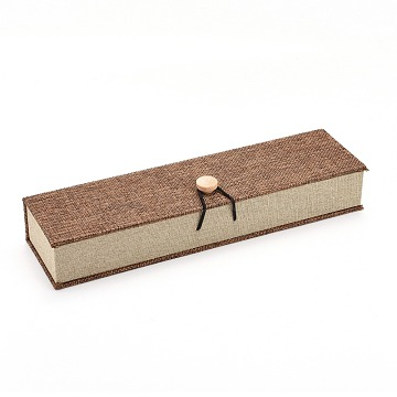Rectangle Wooden Necklace Boxes, with Burlap and Velvet, Camel, 24.2x6.5x4.6cm(OBOX-N013-04)