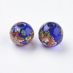 fleur photo perles de verre imprimé, arrondir, bleu royal, 8x7 mm, trou: 1 mm(GLAA-E399-8mm-B03)