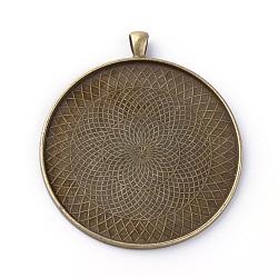Supports de cabochon en alliage de style tibétain, plat rond, sans plomb et sans nickel, bronze antique, plateau: 58 mm; 70x62x2.5 mm, Trou: 7x4.5mm(X-PALLOY-Q341-02AB-FF)