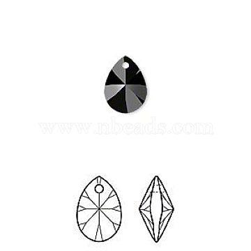 Austrian Crystal Rhinestone Xilion Pendants, 6128, Crystal Passions, Faceted, Mini Pear, 280_Jet, 12x8x3mm, Hole: 1mm(6128-12mm-280(U))