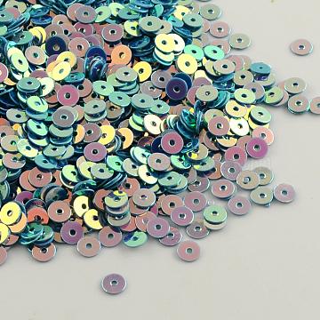 Ornament Accessories Disc Shape Plastic Paillette Beads, Sequins Beads, MediumTurquoise, 6mm, Hole: 0.5mm(X-PVC-Q014-6mm-34)