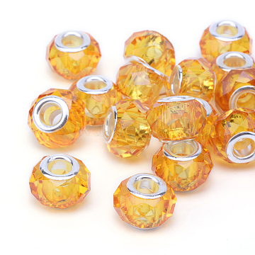 Handmade Glass European Beads, Large Hole Beads, Silver Color Brass Core, Gold, 14x8mm, Hole: 5mm(X-GPDL25Y-50)