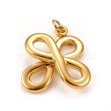 304 Stainless Steel Pendants, with Jump Ring, Clover, Golden, 20x17x4mm, Jump Ring: 4x0.5mm, 3mm inner diameter(STAS-L250-005G)