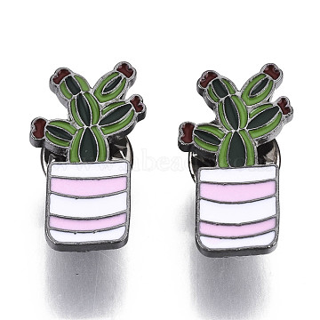 Alloy Brooches, with Enamel and Brass Butterfly Clutches, Cactus, Gunmetal, Colorful, 25x14x2mm, Pin: 1mm(JEWB-S011-012)