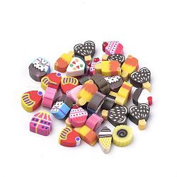 Cabochons en pâte polymère manuels, gateau, couleur mixte, 6x6x4 mm; 100 pcs / sac(CLAY-Q244-06)