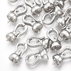 Pendentifs de bails de cheville en alliage, pour la moitié de perles percées, platine, 17.5x8.5x7.5mm, trou: 5 mm; broches: 1 mm(PALLOY-Q422-01)